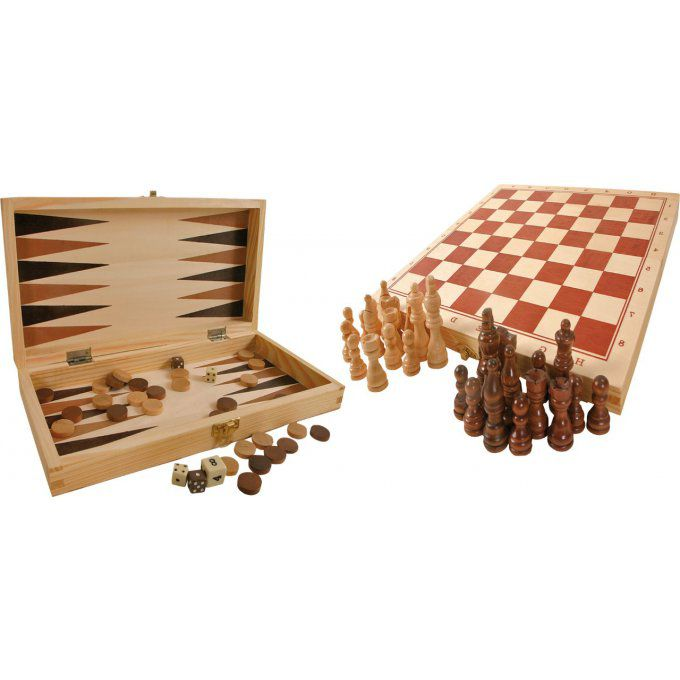 Coffret Échecs, Dames, Backgammon